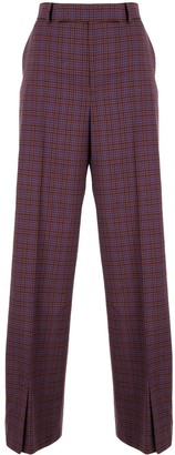Irene Check Pattern Wide Leg Trousers