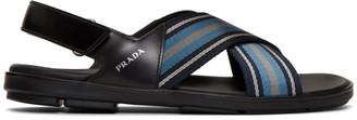 Prada Black and Blue Ribbon Stripes Ankle Sandals