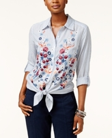 Style&Co. Style & Co Style & Co Petite Cotton Striped Embroidered Shirt, Created for Macy's