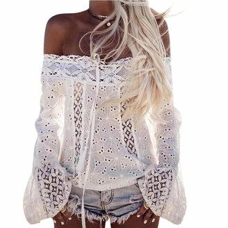 RODMA Tops for Women Women Off Shoulder Long Sleeve Lace Loose Blouse Tops T-Shirt(XX-Large