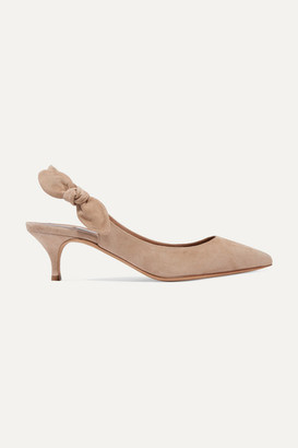 Tabitha Simmons Rise Bow-embellished Suede Slingback Pumps - Beige