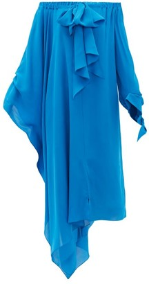 Roland Mouret Caldera Off-the-shoulder Silk-georgette Dress - Blue