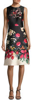 Rickie Freeman For Teri Jon Sleeveless Beaded Floral-Print Satin Cocktail Dress, Multi