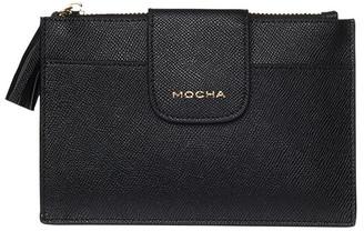 Mocha Tassel Clip Leather Coin Wallet - Black