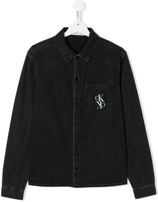 Calvin Klein Kids long sleeve patch pocket shirt