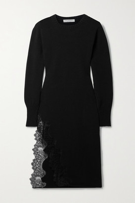 Philosophy di Lorenzo Serafini Lace-trimmed Cotton-blend Midi Dress - Black