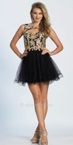 Dave and Johnny Fit and Flare Embroidered Tulle Cut Out Cocktail Dress