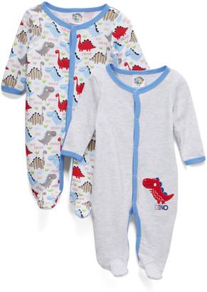Sweet & Soft Boys' Footies Grey - Blue, Gray & Red 'Dino' Footie Set - Newborn & Infant