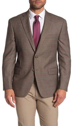 Hart Schaffner Marx Brown Plaid Two Button Notch Lapel Wool Blend Suit Separates Jacket