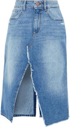 DL1961 Georgia Split-front Distressed Denim Skirt