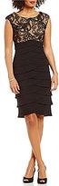 Jessica Howard Cap-Sleeve Soutache Tiered Sheath Dress