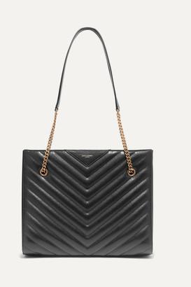 Saint Laurent Tribeca Medium Quilted Textured-leather Tote - Black