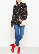 Marc Jacobs Painted Flower Tie Neck Long Sleeve Blouse