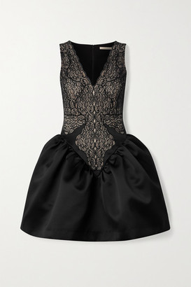 Christopher Kane Lace And Duchesse-satin Mini Dress - Black