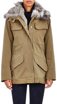 Barneys New York Women's Sueded Canvas Jacket With Fur Vest & Collar-GREEN