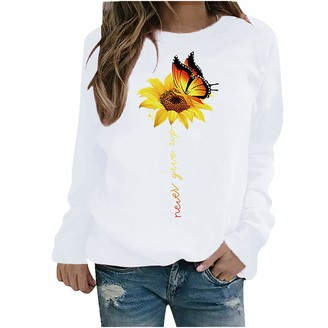 PUAMAC Womens Sweatshirt Long Sleeve Pullover O Neck Butterfly Flower Printed Solid Color Thermal Loose Tunic Tops Jumper White
