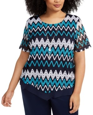Alfred Dunner Plus Size Easy Street Crochet Necklace Top