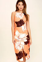 Keepsake Translate Orange Floral Print Midi Dress