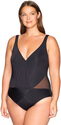 Kenneth Cole Reaction Women's Plus Size Tummy Control Shirred V-Neck One Piece Swimsuit