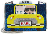 Karl Lagerfeld NYC Taxi Box Clutch with Chain Strap