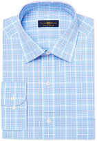 Club Room Men's Estate Classic/Regular Fit Wrinkle Resistant Blue Windowpane Dress Shirt, Created for Macy's