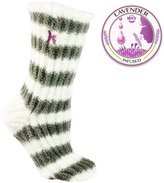 MinxNY Slouchy Fuzzy Chen Socks Non-Skid Lavender Infused Gry&Crm