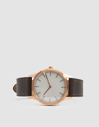 Uniform Wares Men's C35 Two Hand Watch in Rose Gold | Leather