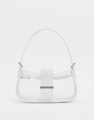 clear Asos Design ASOS DESIGN 90s shoulder bag with white jumbo croc panels