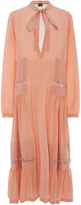 Rochas Cotton Long Sleeved Dress with Neck Tie