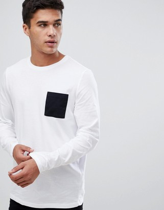Asos DESIGN long sleeve t-shirt with contrast pocket in white