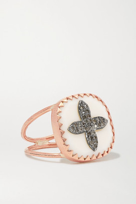 Pascale Monvoisin Bowie N2 9-karat Rose Gold, Sterling Silver, Resin And Diamond Ring