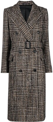 Tagliatore Houndstooth Belted Coat
