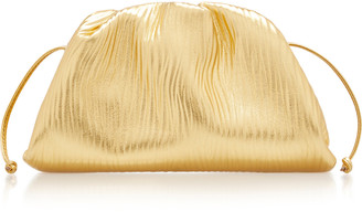Bottega Veneta The Pouch Small Gathered Metallic Leather Clutch