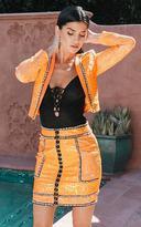 PrettyLittleThing Premium Orange Hook and Eye Jacquard Mini Skirt
