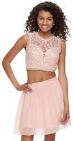 Speechless Juniors' Lace Sequin Top & Skirt Set