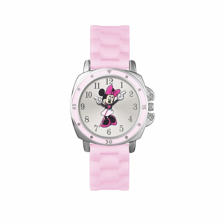 Disney Minnie Mouse Girls Analogue Classic Quartz Watch with Rubber Strap MN1063