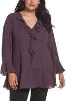 Sejour Plus Size Women's Ruffle V-Neck Tunic