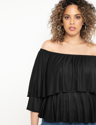 ELOQUII Off the Shoulder Metallic Top