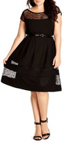 City Chic Lace Inset Fit and Flare Dress