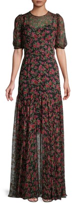 Dolce & Gabbana Moody Floral-Print Silk Maxi Dress
