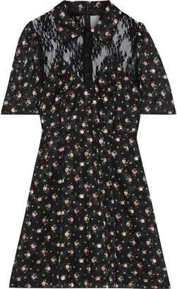 Anna Sui Lace-paneled Floral-print Fil Coupe Mini Shirt Dress