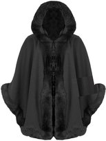 Fashion Box Womens 3⁄4 Sleeves Celebrity Inspired Fur Faux Trim Hooded Cape Poncho Cardigan