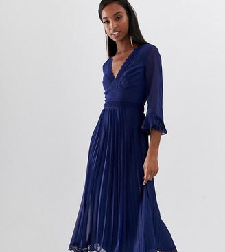 Asos Tall DESIGN Tall pleated midi dress with lace inserts-Navy