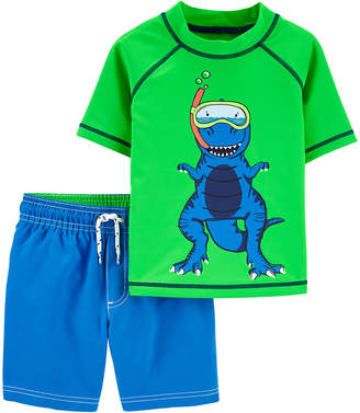 Carter's Boys' Board Shorts Assorted - Green & Blue Color-Changing Dinosaur Rashguard Set - Infant