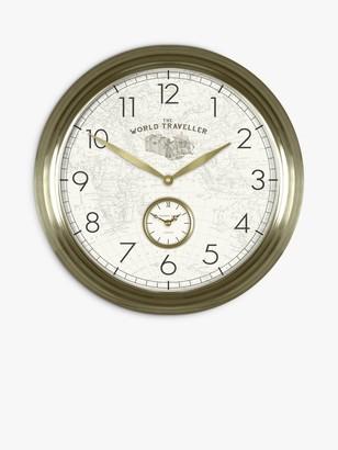 Thomas Laboratories Kent Greenwich World Traveller Arabic Numerals Analogue Wall Clock, 49cm, Gold