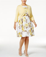Jessica Howard Plus Size Floral-Print Fit & Flare Dress and Shrug Sweater