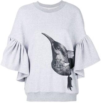 Ioana Ciolacu ruffle bird print sweatshirt