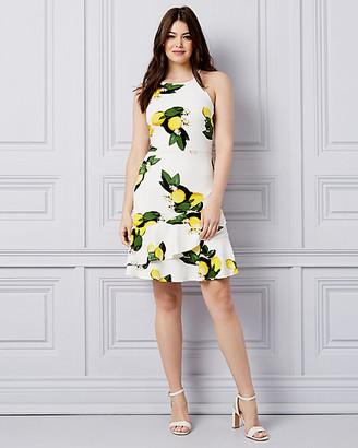 Le Château Lemon Print Textured Knit Ruffle Dress