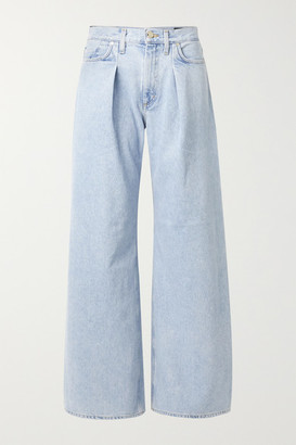Gold Sign Net Sustain Pleated High-rise Wide-leg Jeans - Blue
