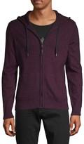John Varvatos Full-Zip Marled Cotton & Wool-Blend Hoodie
